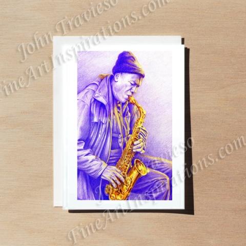 Sax Player Greeting card